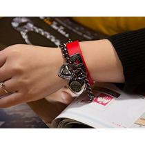 Relógio Bracelete Coração Pulseira Em Couro Feminino M/ Jq