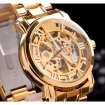 Relógio Masculino Automático Aço Inox Dourado Skeleton