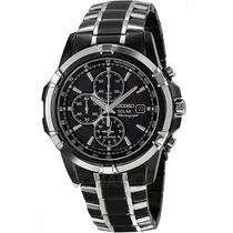 Relógio Seiko Solar Ssc143 Black Cronografo Com Alarme