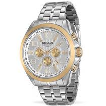 Relógio Original Seculus 2015 Catraca E Botões Dourados