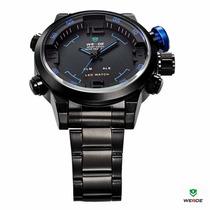 Relógio Esportivo Inox Weide Wh2309 Analógico E Led Digital