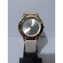 Lindo Relógio Feminino Ck Dourado Pulseira Branca Fret Gráti
