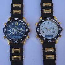 Relógio Dourado Esporte Luxo Potenzia Digital E Analógico
