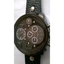 Relógio Marca Famosa Grande Masculino Pulseira Couro Barato
