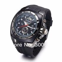 Relógio Analógico Stainless Steel Back V6 - Preto
