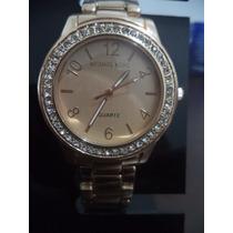 Relógio Feminino Rose Linda Moldura C/ Strass Visor Dourado