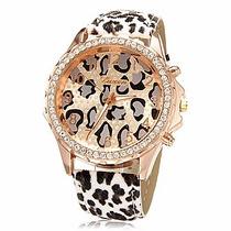 Relógio De Luxo Design Moda Leopardo Feminino - Frete Grátis