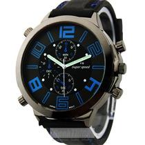 Relógio Big Dail Vogue V6 Bubber Estilo Militar
