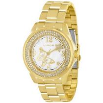Relógio Feminino Lince Dourado Com Pedras Lrg4259l B2kx