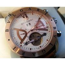 Relógio Bulgari Prata C/ Rosê & Branco, Automatic - Iron Man