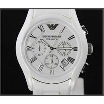 Relógio Armani Ar1403 , Branco Fundo Preto+frete Grátis