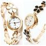Relógio Feminino Dourado Pulseira Com Flores