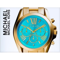 Relógio Michael Kors Romano Mk5739 - Azul Agua Rosa Dourado