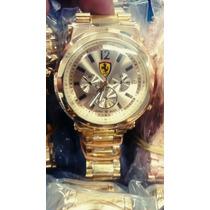 Relógio Ferrari Dourado Fundo Branco Preto Azul Frete Grátis
