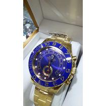 Relogio Yacht Master Azul Dourado + Sedex Caixa Manual
