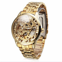 Relógio De Pulso Masculino Dourado Com Pulseira De Aço Inoxi