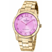 Relógio Champion Feminino Dourado Cn29909i 50 Metros Strass