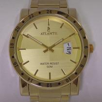 Relógio Masculino Dourado Luxo Atlantis G3242 Modelo Nixon