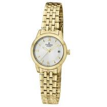 Relógio Feminino Champion Dourado Pequeno Ca28832h Em Aço