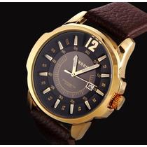 Relógio Curren Masculino Dourado Barato Pulseira Em Couro