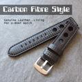 Pulseira Couro Estilo Fibra Carbono 20mm Aço Escovado