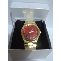 Relógio Feminino Michael Kors Mk Dourado E Mármore Vermelho
