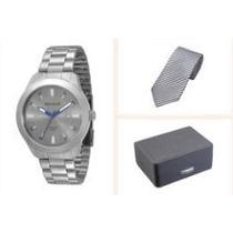 Relógio Masculino Seculus + Estojo E Gravata Presente Natal