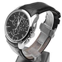 Relógio Tissot Original Prata Preto Couro N 05100 + Sedex