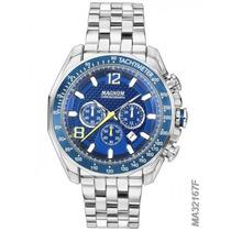 Relógio Magnum Fundo Azul Masculino Original Com 2 Garantia