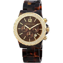 Relógio Luxo Michael Kors Mk5557 Orig Chron Anal Tortoise!!!