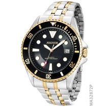 Relógio Magnum Masculino Ma32872p Prata Preto Dourado Diver
