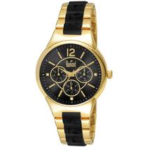 Relógio Dumont , Dourado Com Fundo Preto Du6p29abe/4p