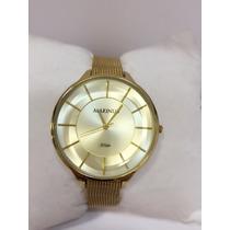 Relógio Feminino Original Dourado Resistente À Água Grátis