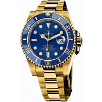 Relógio Submariner Azul E Dourado Banhado A Ouro