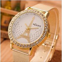 Relógio Quartz Feminino Dourado E Strass Modelo Torre Eiffel