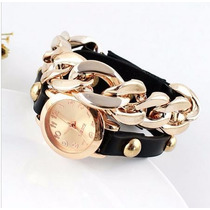 Relógio Feminino Fashion Casual Pulseira Couro E Corrente