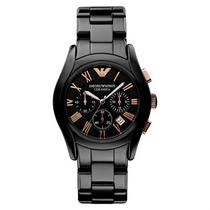 Relógio Emporio Armani Ar1410 Cerâmica Preto C/ Rose
