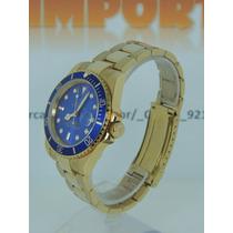 Relógio Submariner Dourado Azul Perpetual Pronta Ouro !!!