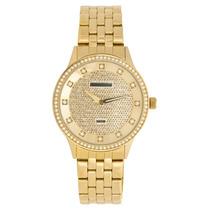 Relógio Feminino Mondaine Dourado Com Strass No Mostrador