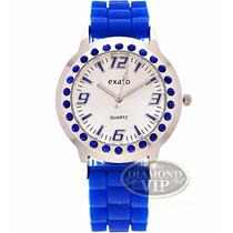 Relógio Feminino Exato Crystal Azul Prata Strass Silicone