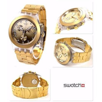 Relógio Swatch Chrono Full Blooded Gold Svck4032g Frete Grát
