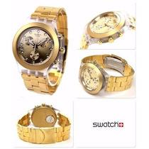 Relógio Swatch Chrono Full Blooded Gold Svck4032g Frete Grát
