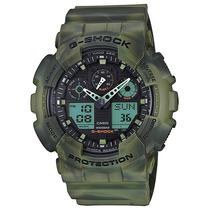 Relogio Casio G-shock Ga-100mm-3ad Camuflado Wr200 H.mundial