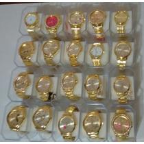Kit C/10 Lindos Relógios Dourado E Prata Atacado+10 Caixas