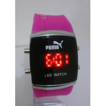 Relógio Feminino Barato Puma De Led Pronta Entrega Cor Pink
