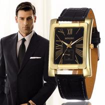 Relógio Masculino Social Retangular Elegante Dourado Preto
