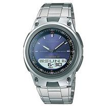 Relogio Casio Aw 80 D Azul Aço 30 Tel Hora Mundial Aw80