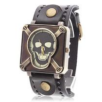 Relógio Bracelete De Couro. Estiloso. Rock Black. Facerock.
