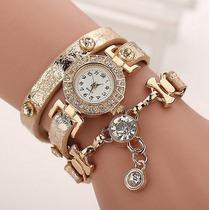 Relógio Feminino Bracelete- Pulseira De Couro Quartzo