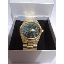 Relógio Feminino Michael Kors Mk Dourado E Mármore Verde